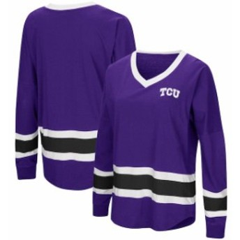 Colosseum コロセウム スポーツ用品 Colosseum TCU Horned Frogs Womens Purple Marquee Players Oversized Long Sleeve V-N