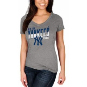 Majestic マジェスティック スポーツ用品  Majestic New York Yankees Womens Heathered Charcoal Crank Up the Heat T-Sh