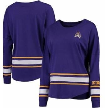 Colosseum コロセウム スポーツ用品 Colosseum East Carolina Pirates Womens Purple All Around Oversized Long Sleeve T-S