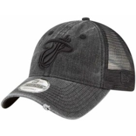 New Era ニュー エラ スポーツ用品  New Era Miami Heat Black Tonal Washed Trucker 9TWENTY Adjustable Snapback Hat