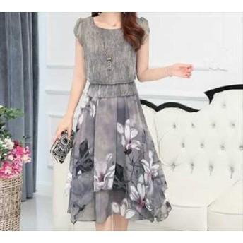 韓国 ワンピース ドレス 花柄スカート 半袖 デート膝丈 KR-5-013