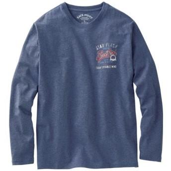 10%OFF【メンズ】 綿100%かすれ調プリントTシャツ(長袖)落ち着いた雰囲気で使い勝手の良い一枚 - セシール ■カラー:アッシュブルー ■サイズ:L,M,LL,5L,3L