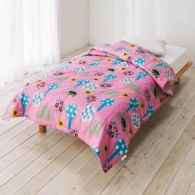 【アツコマタノ/ATSUKO MATANO】洗える肌掛けケット シングルサイズ 夢見る猫ピンク