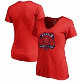 Fanatics Branded ファナティクス ブランド スポーツ用品  Los Angeles Angels Womens Red Police Badge T-Shirt