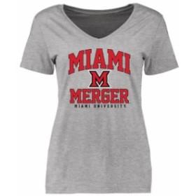 Fanatics Branded ファナティクス ブランド スポーツ用品  Miami University RedHawks Womens Heather Gray Merger Arc