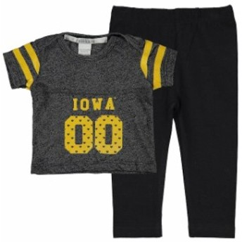 chicka-d チッカ スポーツ用品 Iowa Hawkeyes chicka-d Girls Infant Black Boxy Crop Top and Leggings Set