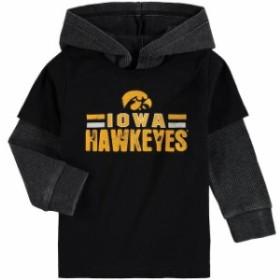 Colosseum コロセウム スポーツ用品  Colosseum Iowa Hawkeyes Infant Black/Charcoal Sloth 2-Fer Hooded Long Sleeve T-Shi