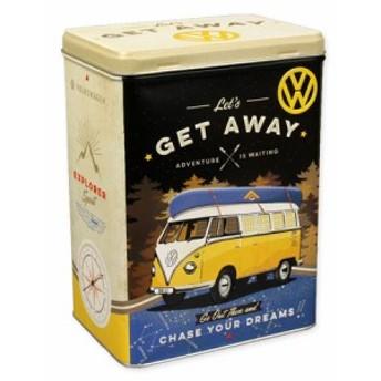 フォルクスワーゲン 小物入れ 収納 おしゃれ ブリキ缶 ワーゲンバス ティンボックス Lサイズ VW Bulli Let's Get Away_SR-43110-HYS