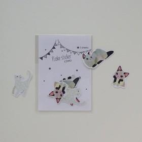 COMO フレークシール・シャム猫&白猫