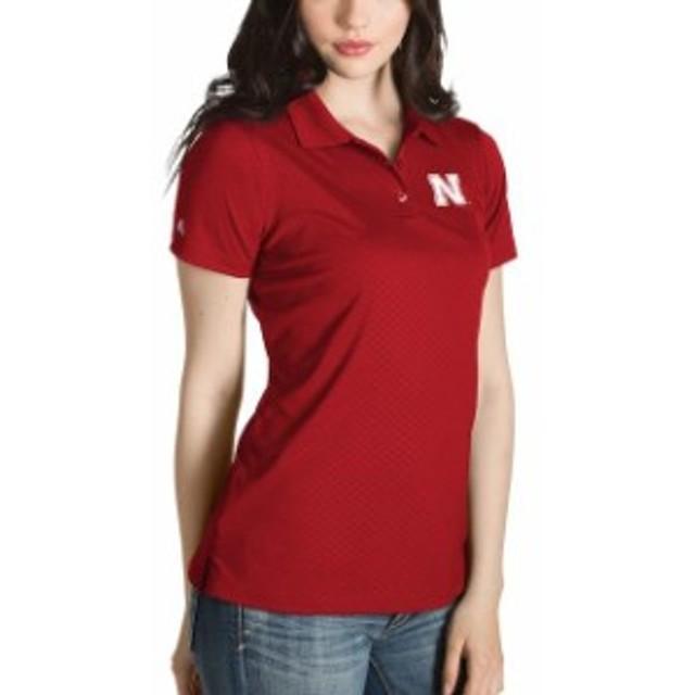 Antigua アンティグア スポーツ用品  Antigua Nebraska Cornhuskers Womens Red Desert Dry Inspire Polo