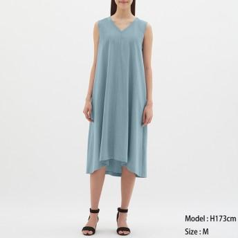 (GU)Aラインワンピース(ノースリーブ) BLUE M