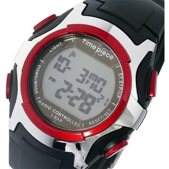 04158d8295 タイムピース TIME PIECE 電波 デジタル メンズ 腕時計 TPW-001RD ブラック/レッド ブラック