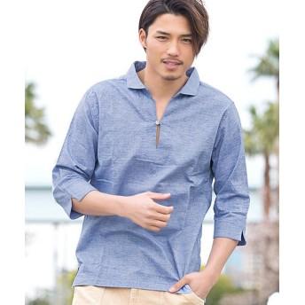シルバーバレット VICCI綿麻ストレッチ七分袖カプリシャツ メンズ ネイビー 44(M) 【SILVER BULLET】