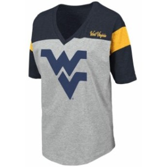 Colosseum コロセウム スポーツ用品 Colosseum West Virginia Mountaineers Womens Heathered Gray Genoa Color Blocked V-N