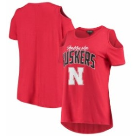 Gameday Couture ゲームデイ コーチャー スポーツ用品  Nebraska Cornhuskers Womens Scarlet Cold Shoulder Flowy Top