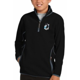 Antigua アンティグア スポーツ用品 Antigua Minnesota United FC Youth Black/Gray Ice Quarter-Zip Pullover Jacket