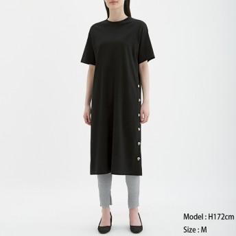 (GU)ボタンTワンピース(5分袖) BLACK M