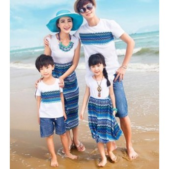 親子 ペアルック ワンピース お揃い 半袖 Tシャツ メンズ レディース 女の子 男の子 子供服 親子ペア 服 海デートビーチ カップル