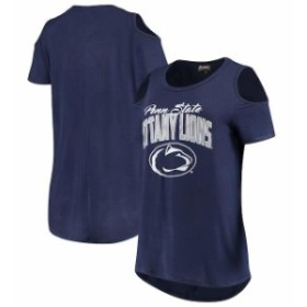 Gameday Couture ゲームデイ コーチャー スポーツ用品  Penn State Nittany Lions Womens Navy Cold Shoulder Flowy Top