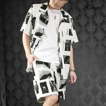 セットアップ 上下 オープンシャツ 半袖 ショートパンツ メンズ フォト転写プリント モノトーン mens(ホワイト白) set7045