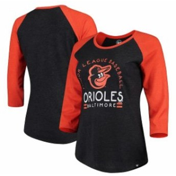 47 フォーティーセブン スポーツ用品 47 Baltimore Orioles Womens Heathered Black Club 3/4-Sleeve Raglan T-Shirt