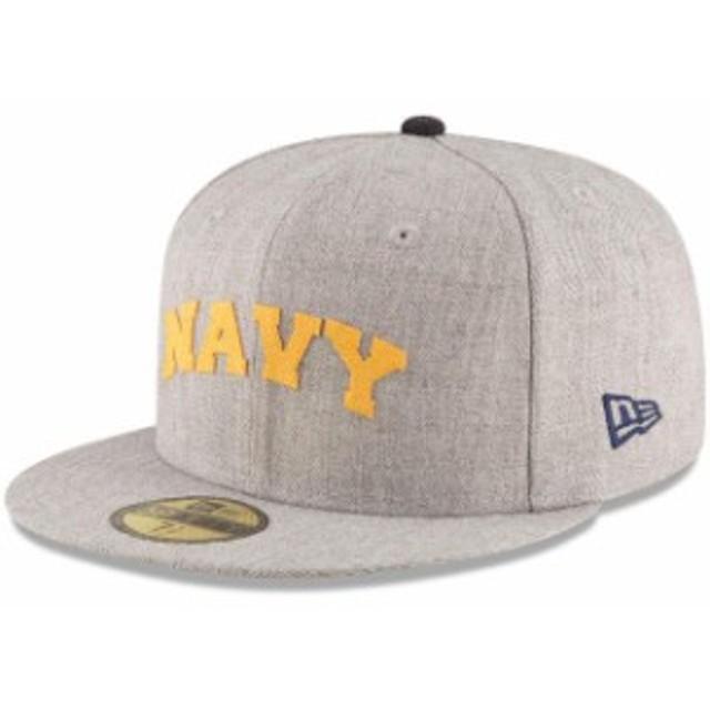 New Era ニュー エラ スポーツ用品  New Era Navy Midshipmen Heathered Gray Hype 59FIFTY Fitted Hat
