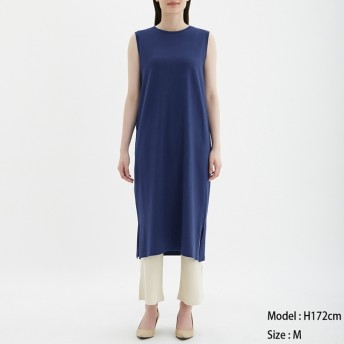 (GU)Iラインワンピース(ノースリーブ) BLUE M