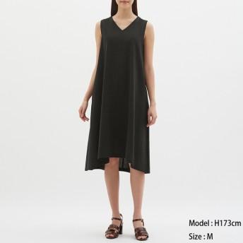 (GU)Aラインワンピース(ノースリーブ) BLACK XL
