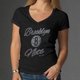 47 フォーティーセブン スポーツ用品  47 Brand Brooklyn Nets Womens Black V-Neck Scrum T-Shirt
