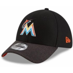 New Era ニュー エラ スポーツ用品  New Era Miami Marlins Black Popped Shadow 39THIRTY Flex Hat