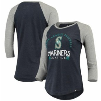 47 フォーティーセブン スポーツ用品 47 Seattle Mariners Womens Heathered Navy Club 3/4-Sleeve Raglan T-Shirt
