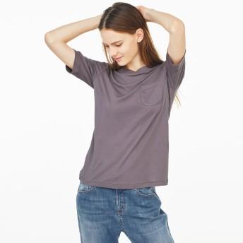 柔らかな肌触りのテンセルコットン クルーネックTシャツブルーS