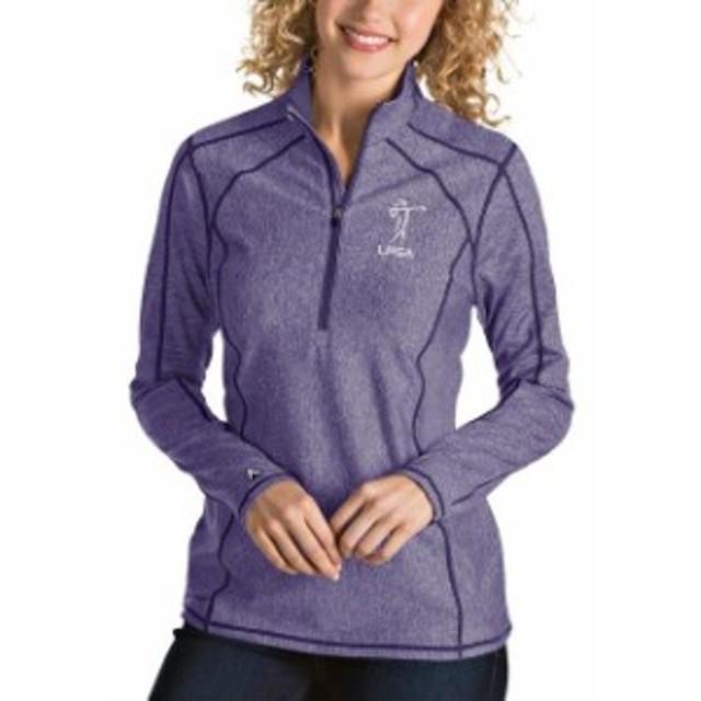 Antigua アンティグア アウターウェア ジャケット/アウター Antigua LPGA Womens Heather Purple Tempo Half-Zip