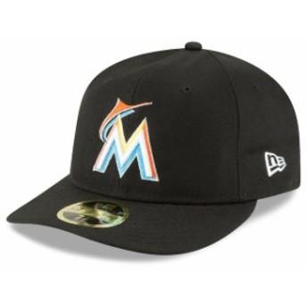 New Era ニュー エラ スポーツ用品 New Era Miami Marlins Black Fan Retro Low Profile 59FIFTY Fitted Hat