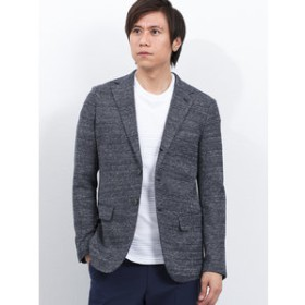 【m.f.editorial:ジャケット】コットンリネンジャージ3釦シングルジャケット 青ドビー