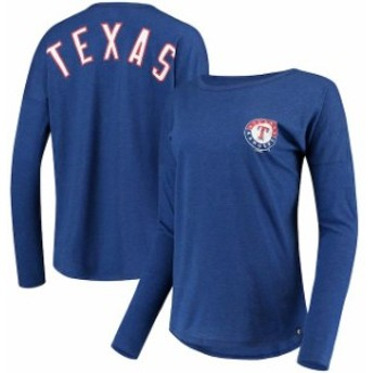 47 フォーティーセブン スポーツ用品 47 Texas Rangers Womens Royal Courtside Long Sleeve T-Shirt