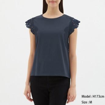 GU レーストリム ノースリーブTシャツ