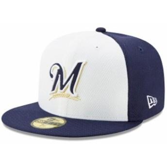 New Era ニュー エラ スポーツ用品 New Era Milwaukee Brewers White/Navy Diamond Era 59FIFTY Fitted Hat