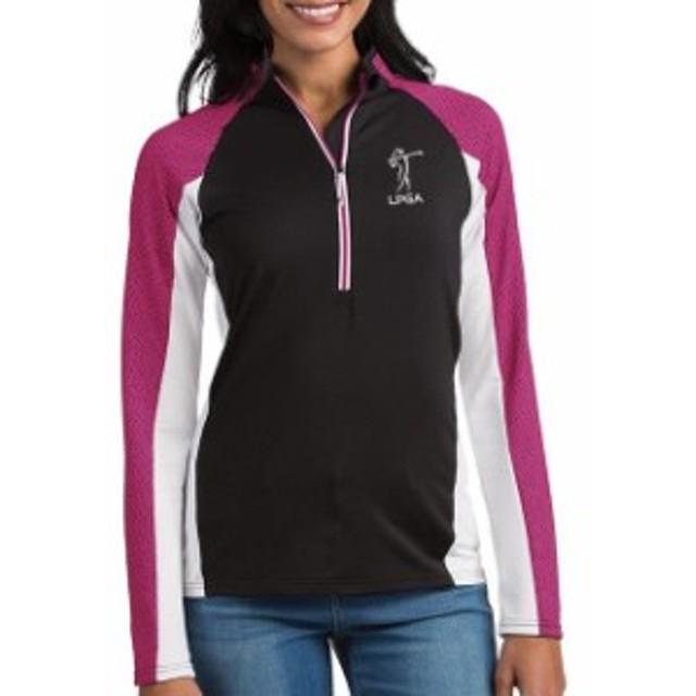 Antigua アンティグア アウターウェア ジャケット/アウター Antigua LPGA Womens Black/Pink Revolve Half-Zip Ja