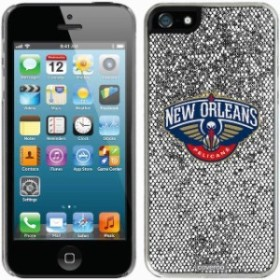 Coveroo カバーロ スポーツ用品  New Orleans Pelicans Silver iPhone 5/5s Bling Thinshield Snap-On Case