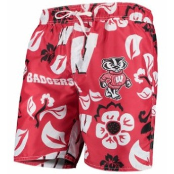 Wes & Willy ウェス アンド ウィリー スポーツ用品 Wes & Willy Wisconsin Badgers Red Floral Volley Swim Trunks