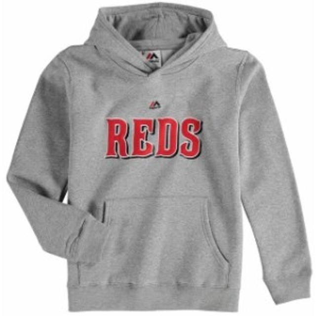 a68d8b5b Majestic マジェスティック スポーツ用品 Majestic Cincinnati Reds Youth Heather Gray  Wordmark Pullover Hoodie
