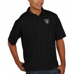 Antigua アンティグア シャツ ポロシャツ Antigua Oakland Raiders Black Pique Xtra Lite Big & Tall Polo