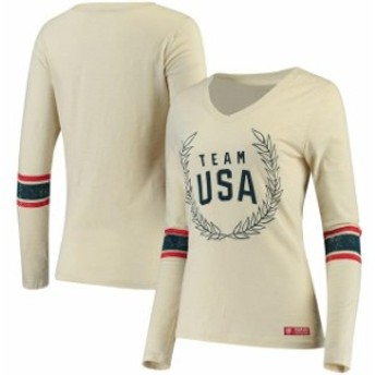 Outerstuff アウタースタッフ スポーツ用品 Team USA Womens White Vintage USA Wreath Long Sleeve Shirt