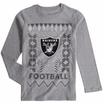 Outerstuff アウタースタッフ スポーツ用品 Oakland Raiders Youth Heathered Gray Blizzard Long Sleeve T-Shirt