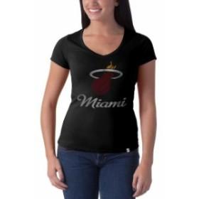 47 フォーティーセブン スポーツ用品  47 Brand Miami Heat Womens Black Current Logo Flanker V-Neck T-Shirt