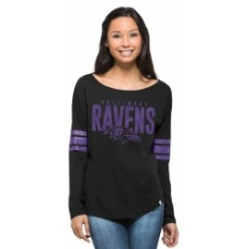 47 フォーティーセブン スポーツ用品  47 Brand Baltimore Ravens Womens Black Courtside Long Sleeve T-Shirt