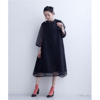 メルロー シアードット柄ワンピース レディース ブラック FREE 【merlot】