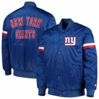 Starter スターター アウターウェア ジャケット/アウター Starter New York Giants Royal Champ Satin Varsity Jac