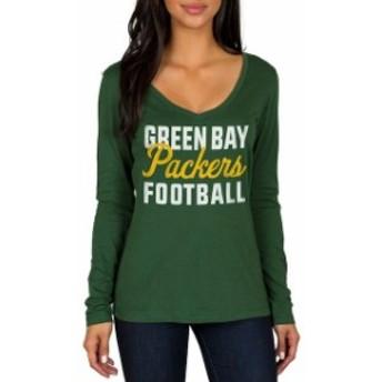 JFNB ジェイエフエヌビー スポーツ用品 Green Bay Packers Womens Green Blitz 2 Hit Long Sleeve V-Neck T-Shirt